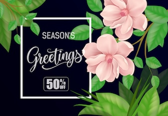Seasons greetings vectors photos and psd files free download seasons greetings fifty percent off lettering creative inscription in frame m4hsunfo