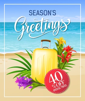 Seasons greetings lettering with sea beach and suitcase.