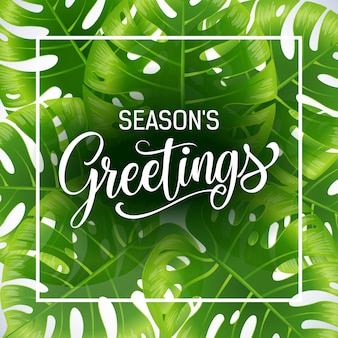 Seasons greetings poster template with tropical leaves on white background.