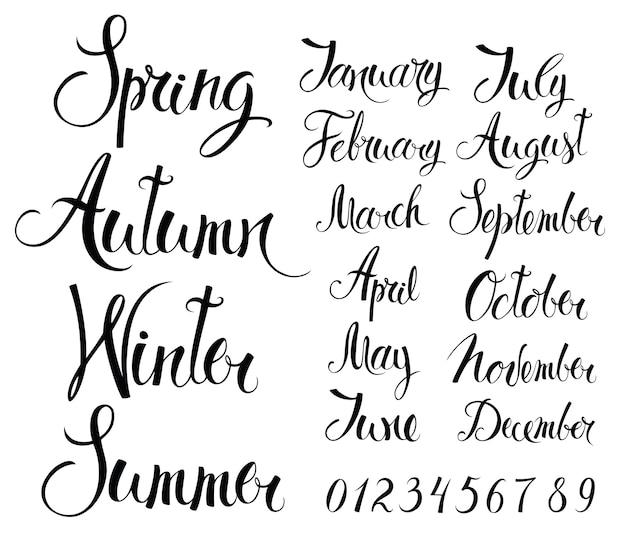 Сезоны, месяцы и числа