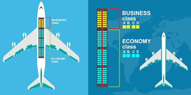 Seat map airplane class illustration. airline tour trip passenger charter chair.
