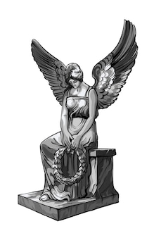 Seated praying angel girl sculpture with wings and wreath. monochrome illustration of the statue of an angel. isolated.