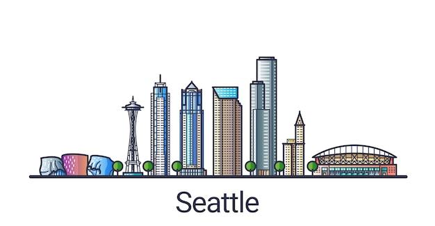 Сиэтл город в модном стиле плоской линии