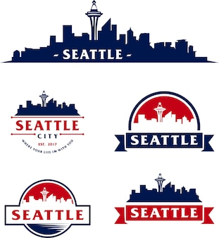 Seattle of City Skyline line art vector illustration