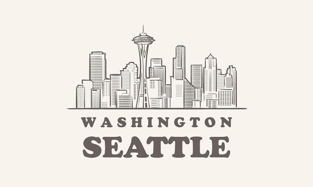 シアトルのスカイライン、ワシントン州が描いたスケッチ大都市