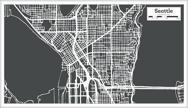 레트로 스타일의 시애틀 미국 도시 지도입니다. 개요 지도. 벡터 일러스트 레이 션.