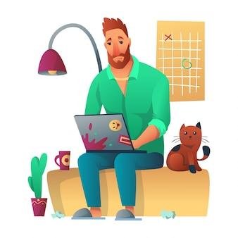 Утомленный независимый работник работая с seatung компьтер-книжки на софе в доме. рядом с ним сидит кот, изображение на стене, кактус, лампа и бумажный мусор. утреннее планирование фрилансера, рутинная концепция