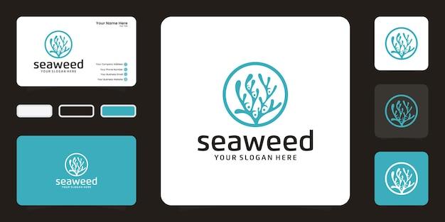 해초와 부정적인 공간 물고기 로고 디자인, 명함