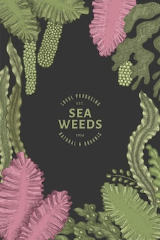 Seaweed color design template. hand drawn seaweeds illustrations on dark surface. engraved style sea food