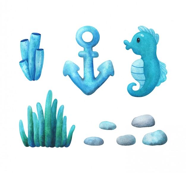 青緑色の配色の海藻、サンゴ、タツノオトシゴ、小石、アンカー。イラストのセット