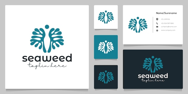 Seaweed  woman nature negative space concepts logo design with business card