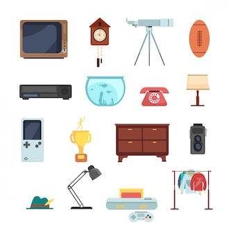 Second hand clothes, vintage goods from flea market vector set isolated