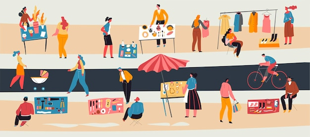 Second hand trade or garage sale, people selling personal belongings, clothes and kitchenware on street. males and females on market. woman walking with buggy, man on bike. vector in flat style