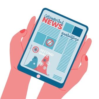 Баннер новостей второй волны на экране планшетного пк. вид спереди ipad и предупреждение о коронавирусе на синем фоне. текст с графикой. электронное устройство в винтажном стиле в две руки. плоская иллюстрация