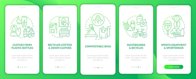 Secondary materials onboarding mobile app page screen. waste upcycling walkthrough 5 steps graphic instructions with concepts. ui, ux, gui vector template with linear color illustrations