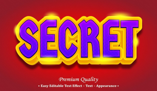 Secret 3d editable text style effect