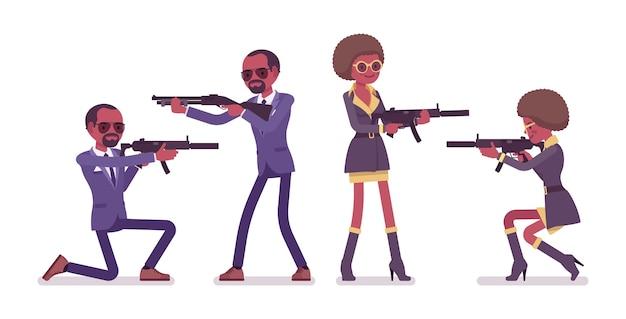 Секретный агент черный мужчина и женщина