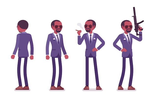 Secret agent black man, gentleman spy of intelligence service, watcher to uncover data, collect political, business information, commit corporate espionage.   style cartoon illustration
