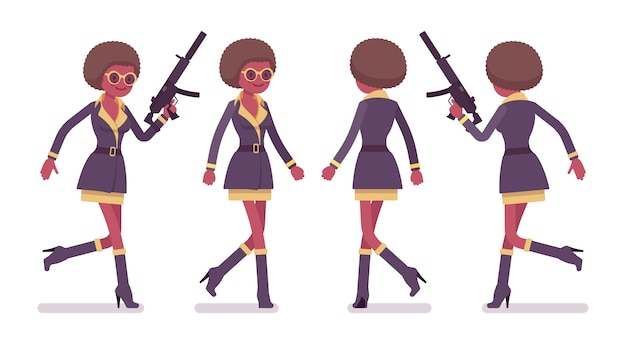 Secret agent black woman, lady spy of intelligence service, watcher to uncover data, collect political, business information, corporate espionage, running.   style cartoon illustration