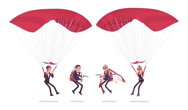 Секретный агент мужчина и женщина на парашюте и реактивном ранце