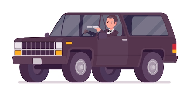 Secret agent man, gentleman spy of intelligence service driving car