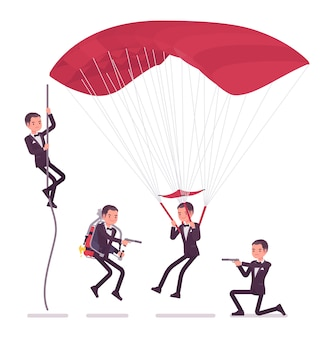 Secret agent man, gentleman spy of intelligence service, watcher uncovers data, collect political, business information, commit corporate espionage on parachute.   style cartoon illustration