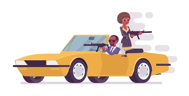 Secret agent man and woman chasing on car