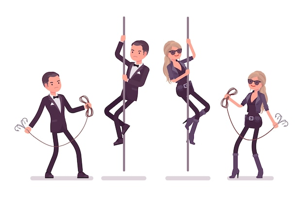 Secret agent man and woman climbing