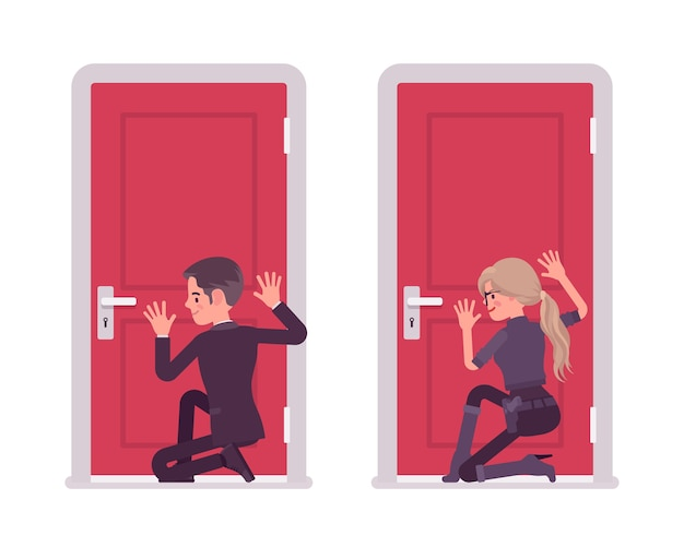Secret agent man and woman eavesdropping at door