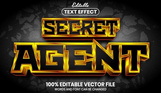 Secret agent text, font style editable text effect