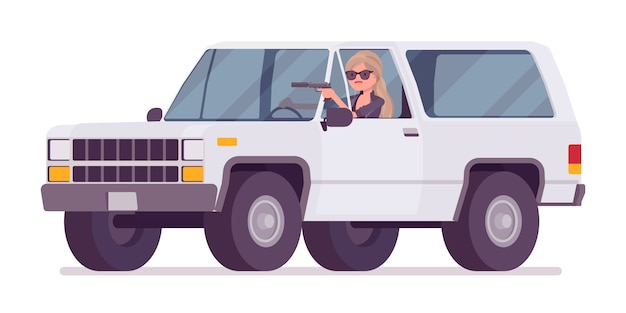 Secret agent woman, lady spy of intelligence service, watcher uncovers data, collect political, business information, commit corporate espionage, driving a car.   style cartoon illustration