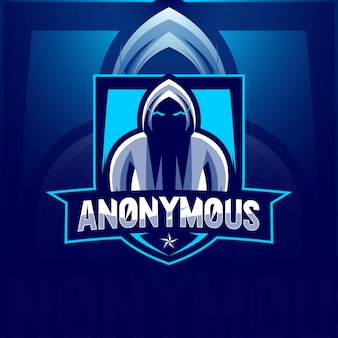 秘密の匿名マスコットロゴeスポーツテンプレート