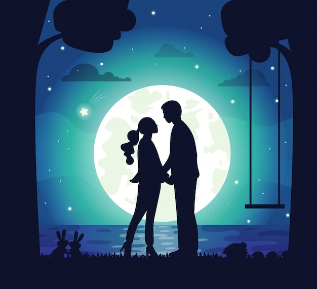 Secret date of couple, man and woman at night