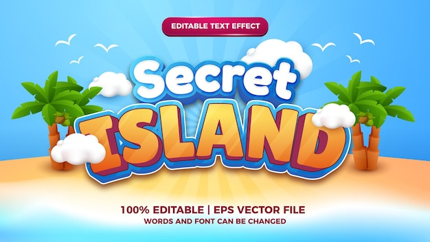 Secret island cartoon comic 3d editable text style effect template
