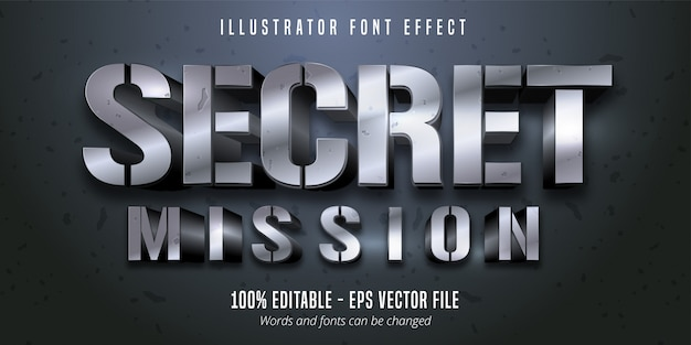 Secret mission text,  silver metallic style editable font effect