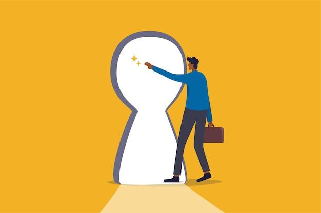 成功の秘訣、ビジネスチャンスの明るい未来、新しい挑戦または自由の概念、好奇心のビジネスマンは、明るく輝くキーホールドに手を伸ばし、ビジネス目標を達成するために歩き始めます。
