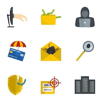 Secret password icons set, cartoon style