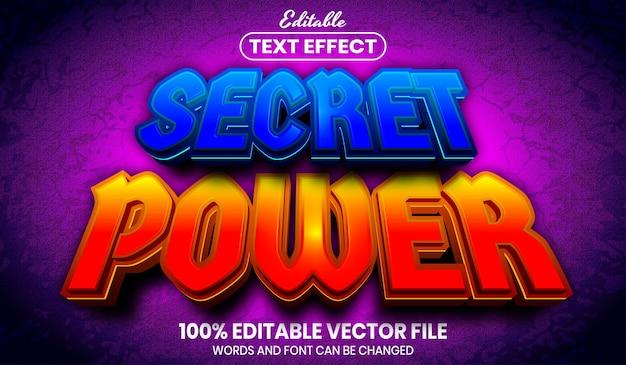 Secret power text, font style editable text effect Premium Vector