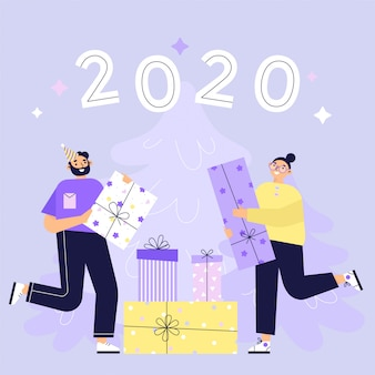 Secret santa, people receiving gift boxes from unknown senders. people celebrating new year with friends or colleagues at work. flat  illustration
