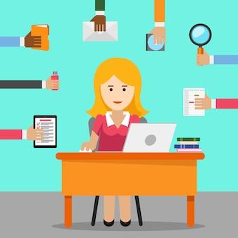 秘書。事務で忙しい女性。