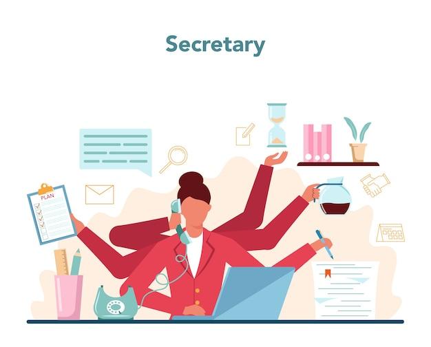 秘書のコンセプト。受付係が電話に出て、書類を手伝います。