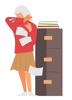 Secretary with documents coughing, female character working at office sneezing sick personage with papers, symptoms of coronavirus. contagious disease and spreading at work, vector in flat style
