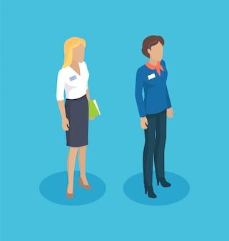 Secretary woman manager set illustration