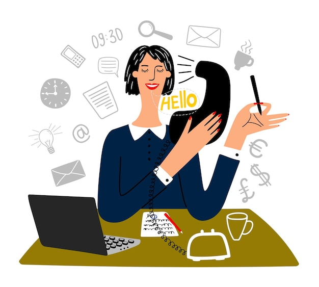 Secretary working. happy working office female secretary business creative tasks, finance officer or professional office manager,   illustration