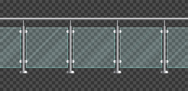 Section of glass fences with metal tubular railing and transparent sheets.  glass balustrade with metal handrails for home stairways and balcony. banister or fencing sections with steel pillars Premium Vector