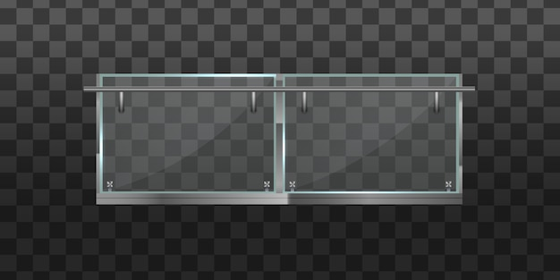 Section of glass fences with metal tubular railing and transparent sheets for home stairways house balcony. glass balustrade with metal railing set. banister or fencing sections with steel pillars.