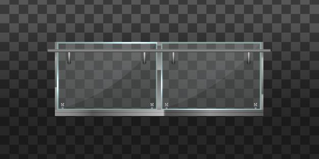 Секция стеклянных заборов с металлическими трубчатыми перилами и прозрачными листами для домашних лестниц, домашних балконов. стеклянная балюстрада с металлическими перилами. перила или ограждения со стальными опорами.