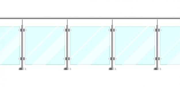 金属の管状の柵および透明なシートが付いているガラスフェンスのセクション。家の階段とバルコニー用の金属製の手すりが付いているガラスの欄干。鋼製支柱のある手すりまたはフェンス部分