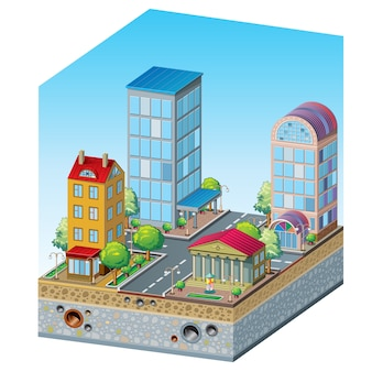 Макет жилого квартала в разрезе, презентация архитектора: здания, деревья, фонтан, дорога, перекресток, канализация и канализация