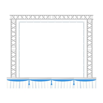 Sectional precast concert metal stage with banner